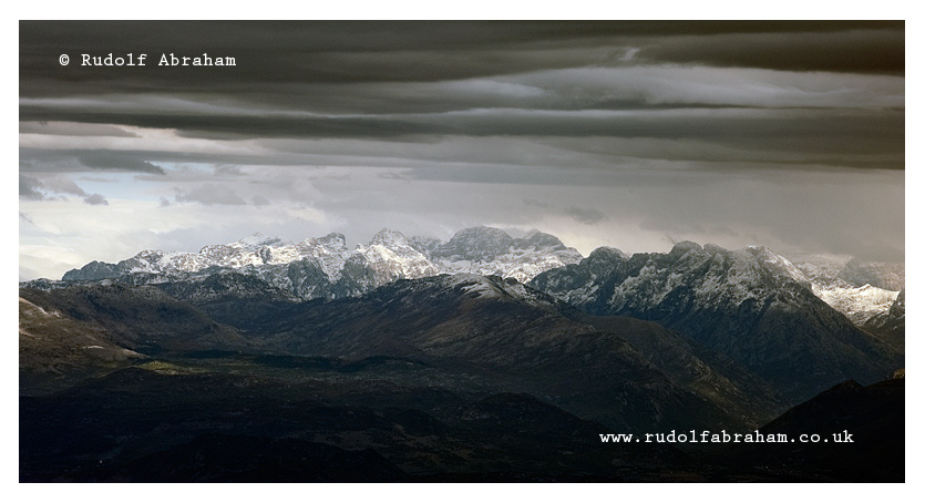 Prokletije mountains, Albania viewed from Rumija mountain above Lake Skadar, Montenegro. © Rudolf Abraham