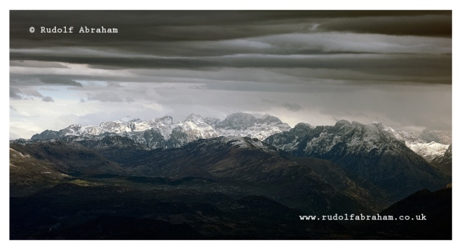 Prokletije mountains, Albania viewed from Rumija mountain above Lake Skadar, Montenegro. © Rudolf Abraham
