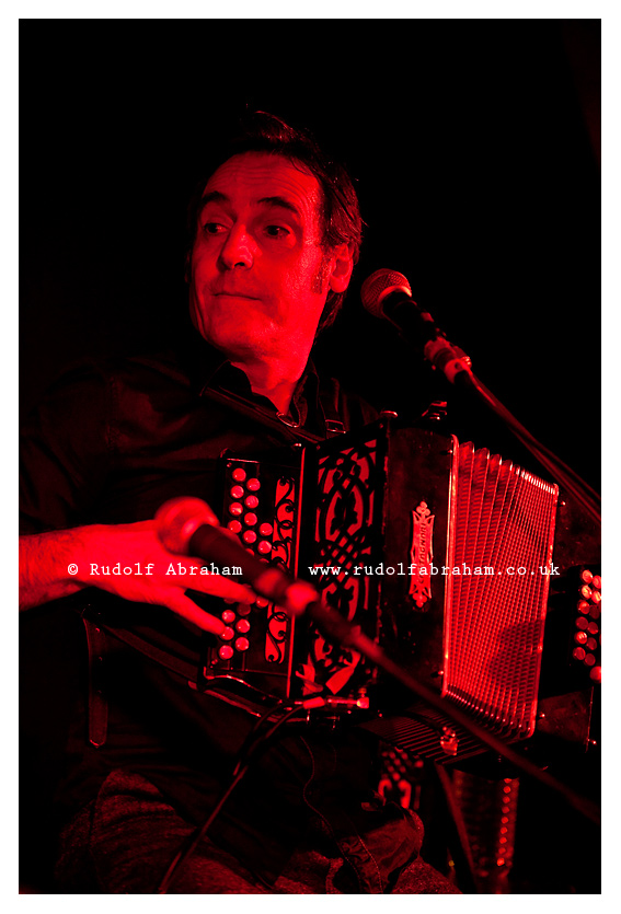 Fest Noz in Rennes, Brittany, France. Traditional Breton musicians Etienne Grandjean (accordion) and Soig Siberil (guitar) perform a concert at Ty Anna Tavern, part of the Yaouank Festival. The evening marked 20 years that the two have been performing together. Fest Noz is a traditional Breton festival with folk dancing and traditional music, and is inscribed on the UNESCO list of Intangible Cultural Heritage. © Rudolf Abraham. All Rights Reserved.