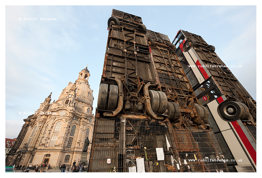 'Monument', by German-Syrian artist Manaf Halbouni. Dresden, Germany © Rudolf Abraham