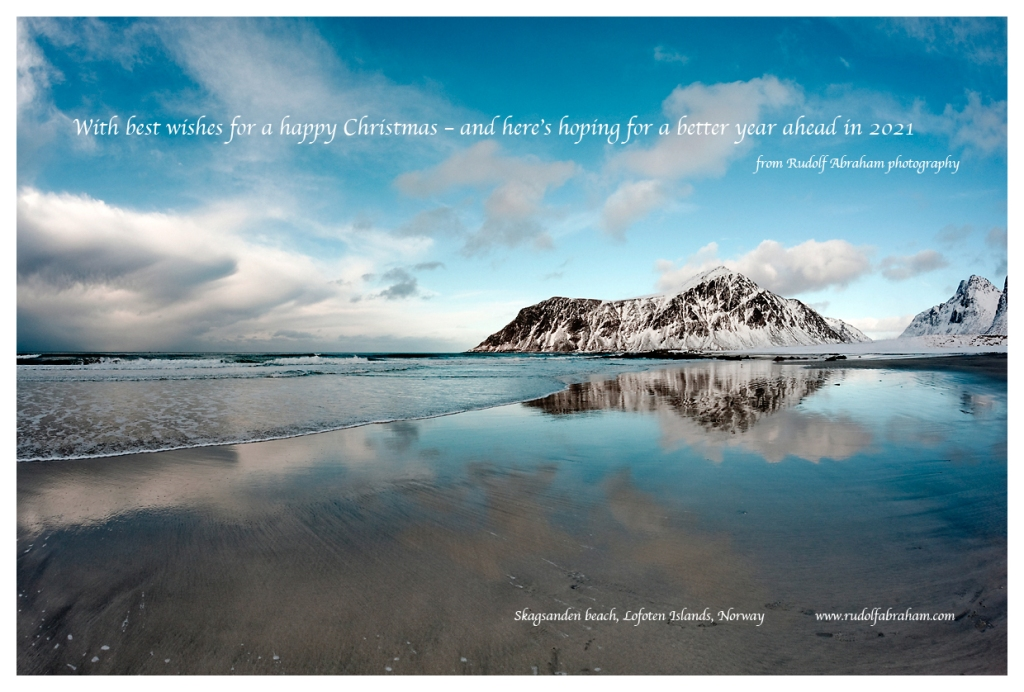 Seasons greetings from Rudolf Abraham photography – Skagsanden beach, Lofoten Islands, Norway